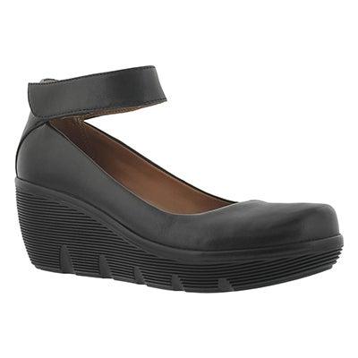 Clarks Women's CLARENE TIDE black ankle strap wedges