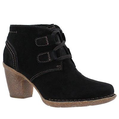 Clarks Women's CARLETA LYON black suede booties