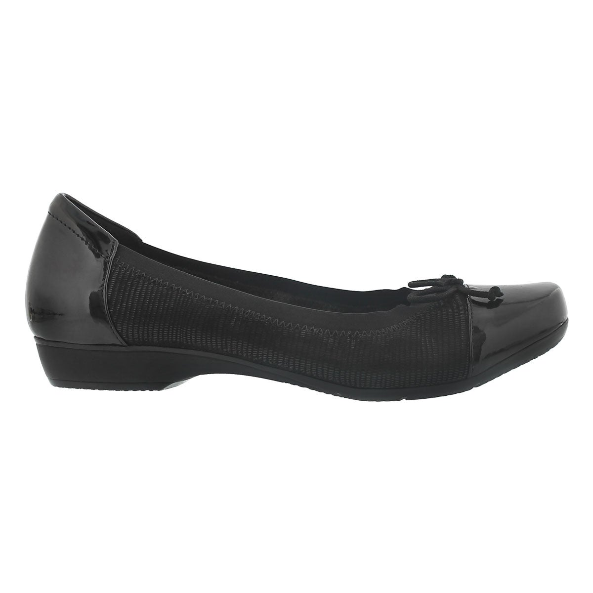 Lds Blanche Nora blk suede flat - WIDE