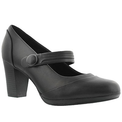 Clarks Women's BRYNN MARE black leather Mary Jane heels