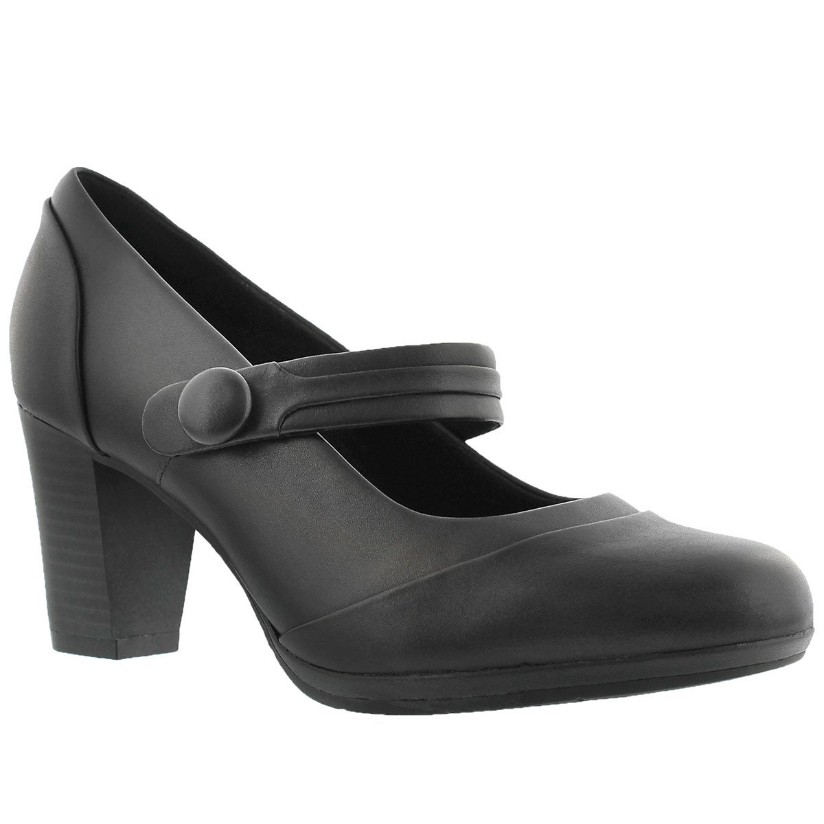 Women's BRYNN MARE black leather Mary Jane heels