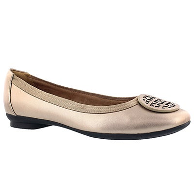 Clarks Women's CANDRA BLUSH gold dress flat - Wide