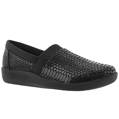 Clarks Women's SILLIAN BLAIR black snake slip on loafers