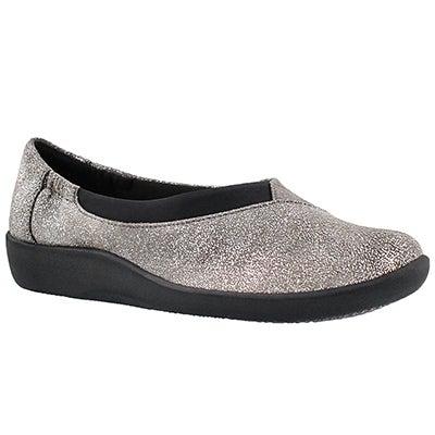 Clarks Women's SILLIAN JETAY silver casual slip ons