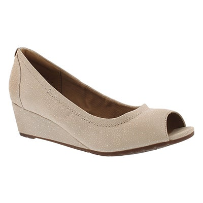 Lds Vendra Daisy nude peep toe wedge