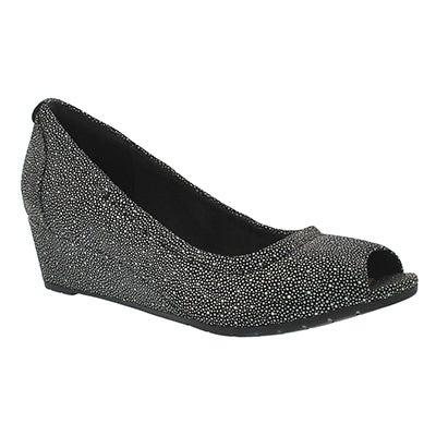 Lds Vendra Daisy black peep toe wedge