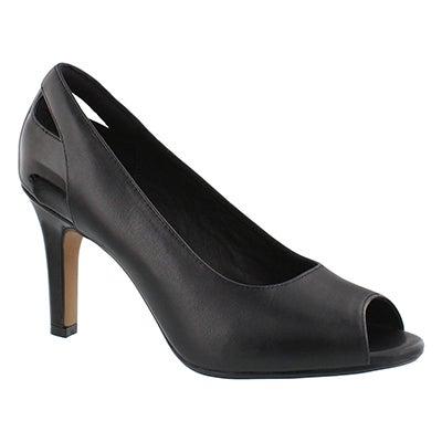 Clarks Women's HEAVENLY MAZE black peep toe dress pumps