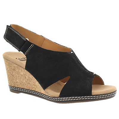 Clarks Women's HELIO FLOAT black wedge sandals