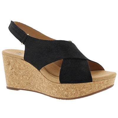 Clarks Women's ANNADEL EIRWYN black wedge sandals