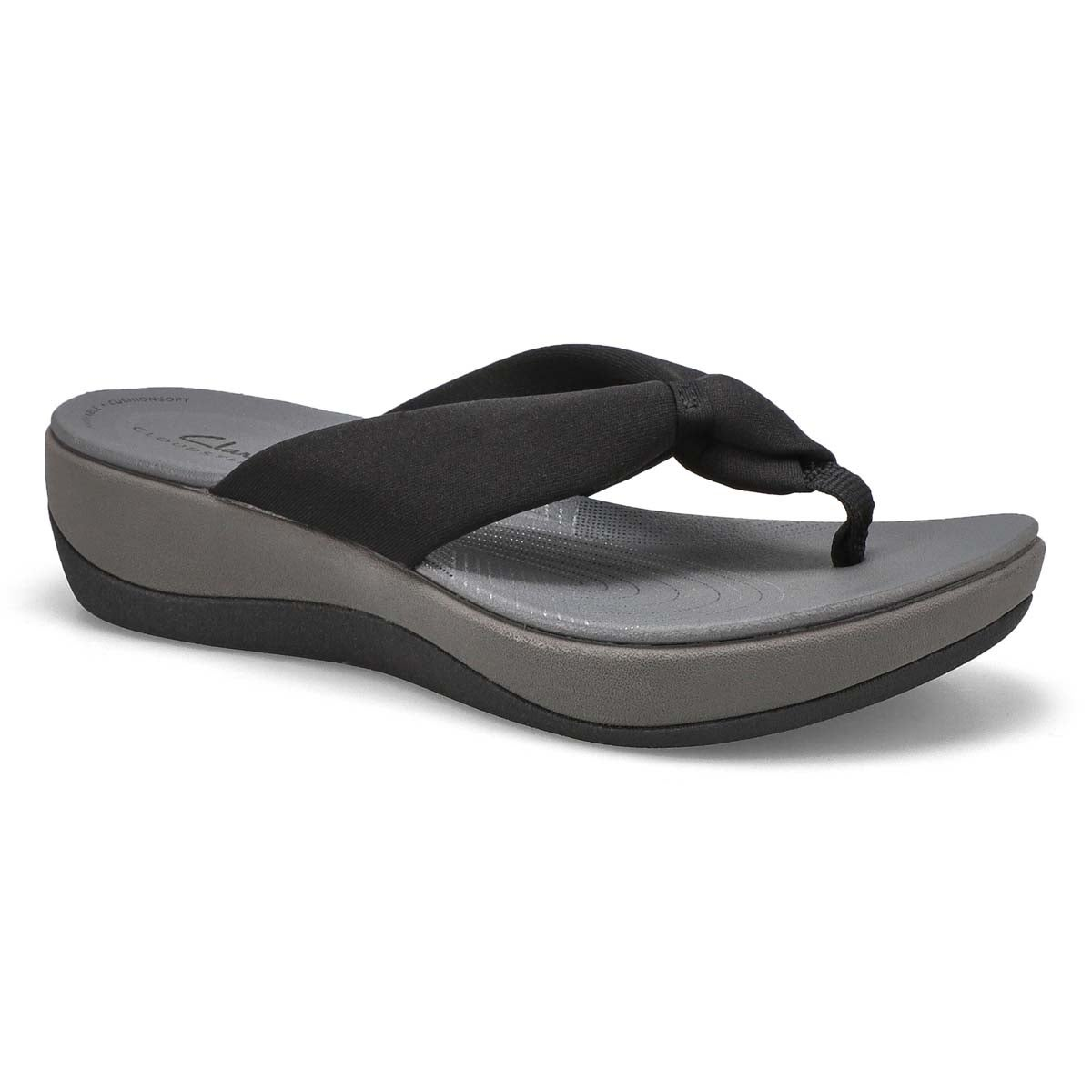 Lds Arla Glison black thong wedge sandal