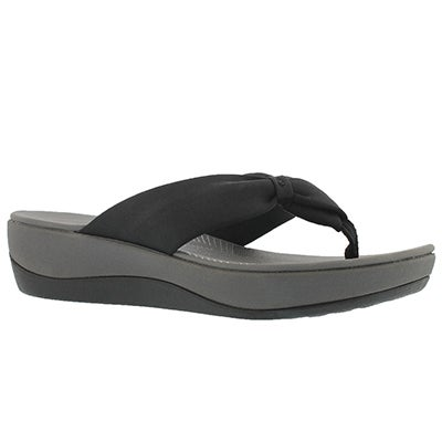 Lds Arla Glison black thong wedge sandal
