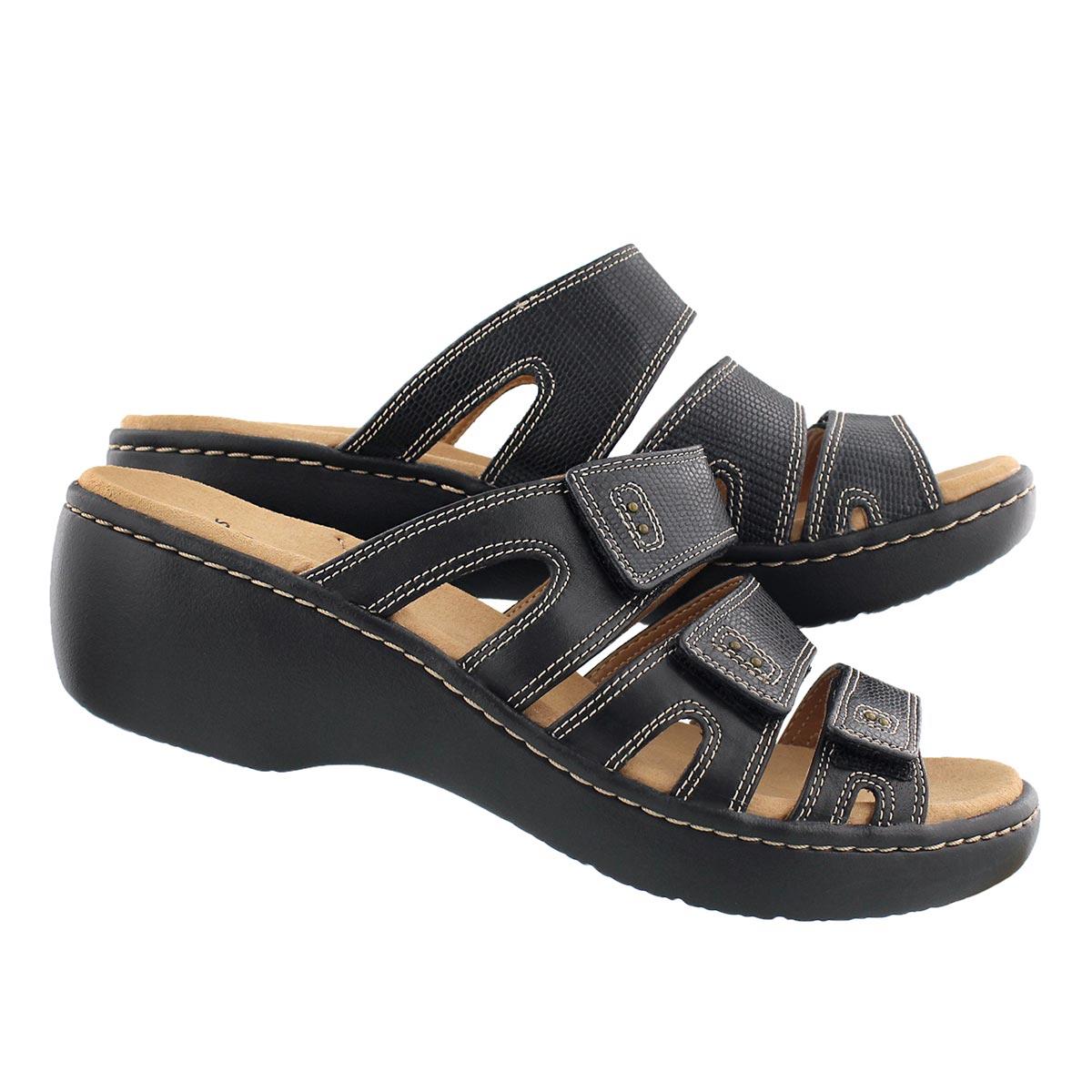 Lds Delana Damir blk casual slide sandal