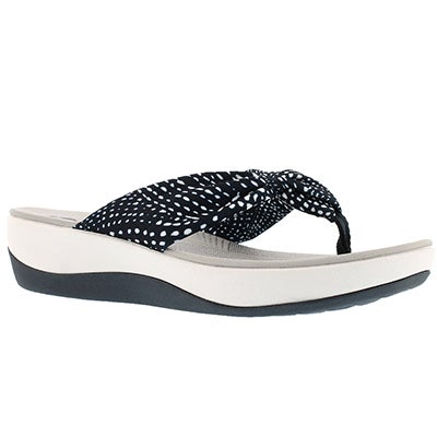 Lds Arla Glison nvy/wht thong wedge sndl