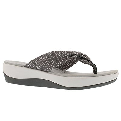 Lds Arla Glison gry/wht thong wedge sndl