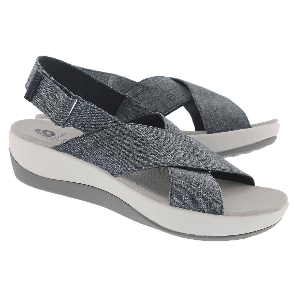 Lds Arla Kaydin nvy/wht wedge sandal