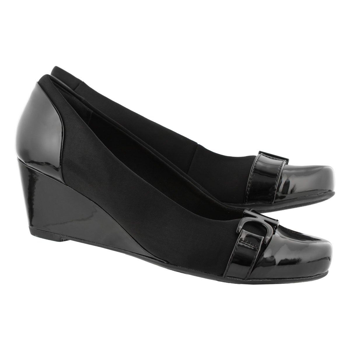 Lds Flores Poppy black dress wedge