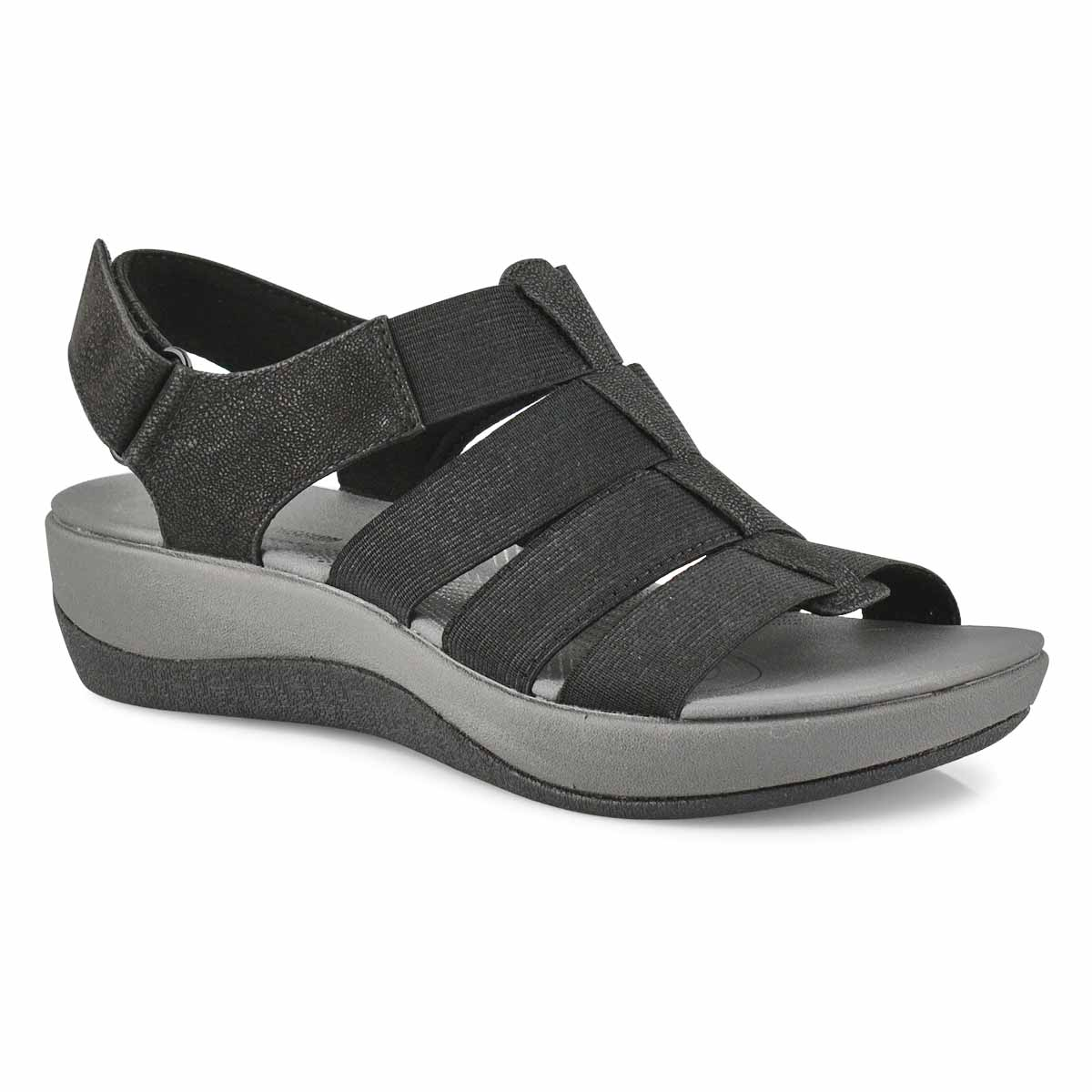 Lds Arla Shaylie blk casual wedge sandal