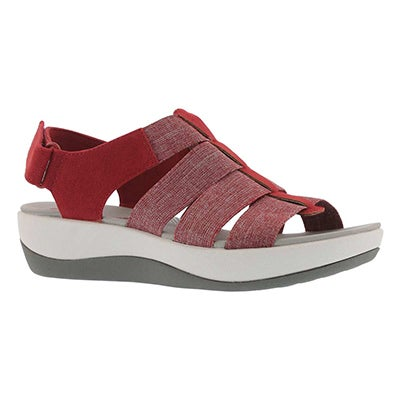 Lds Arla Shaylie red casual wedge sandal