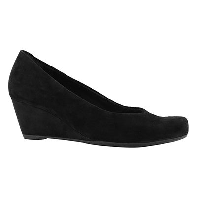 Lds Flores Tulip black suede dress wedge