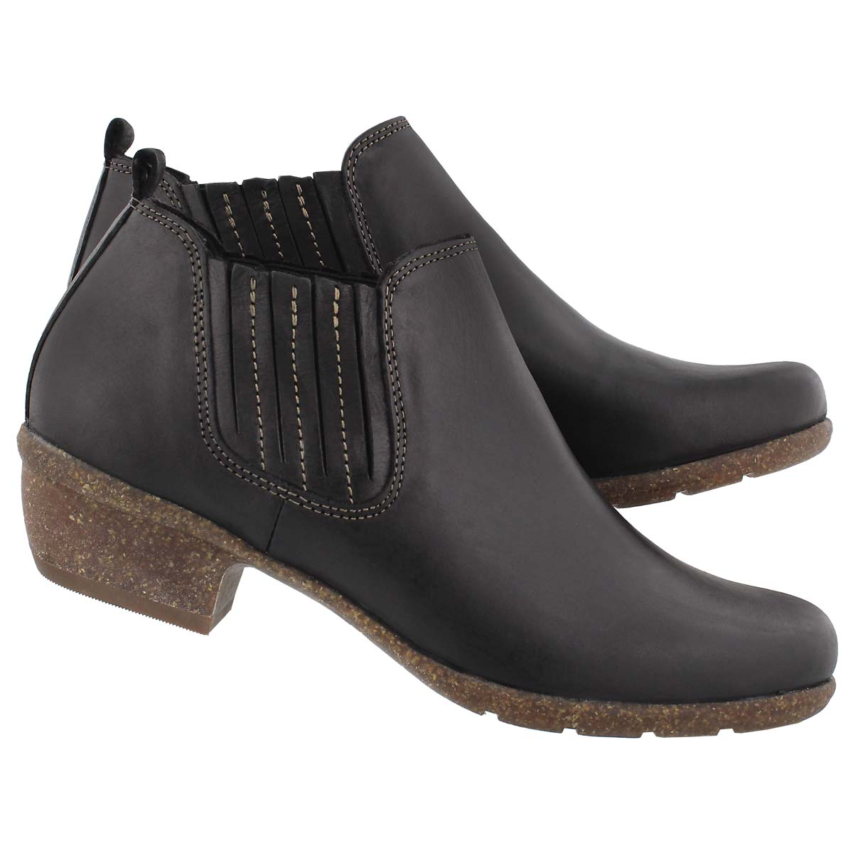 Lds Wilrose Jade blk slip on casual boot