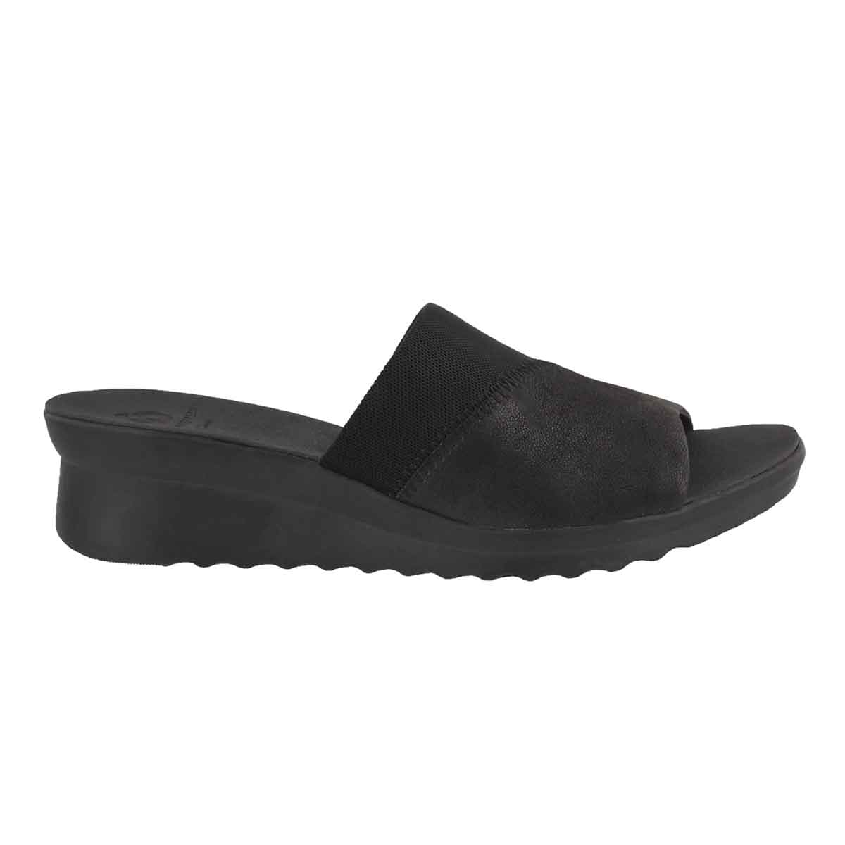 Lds Caddell Ivy black slide wedge sandal