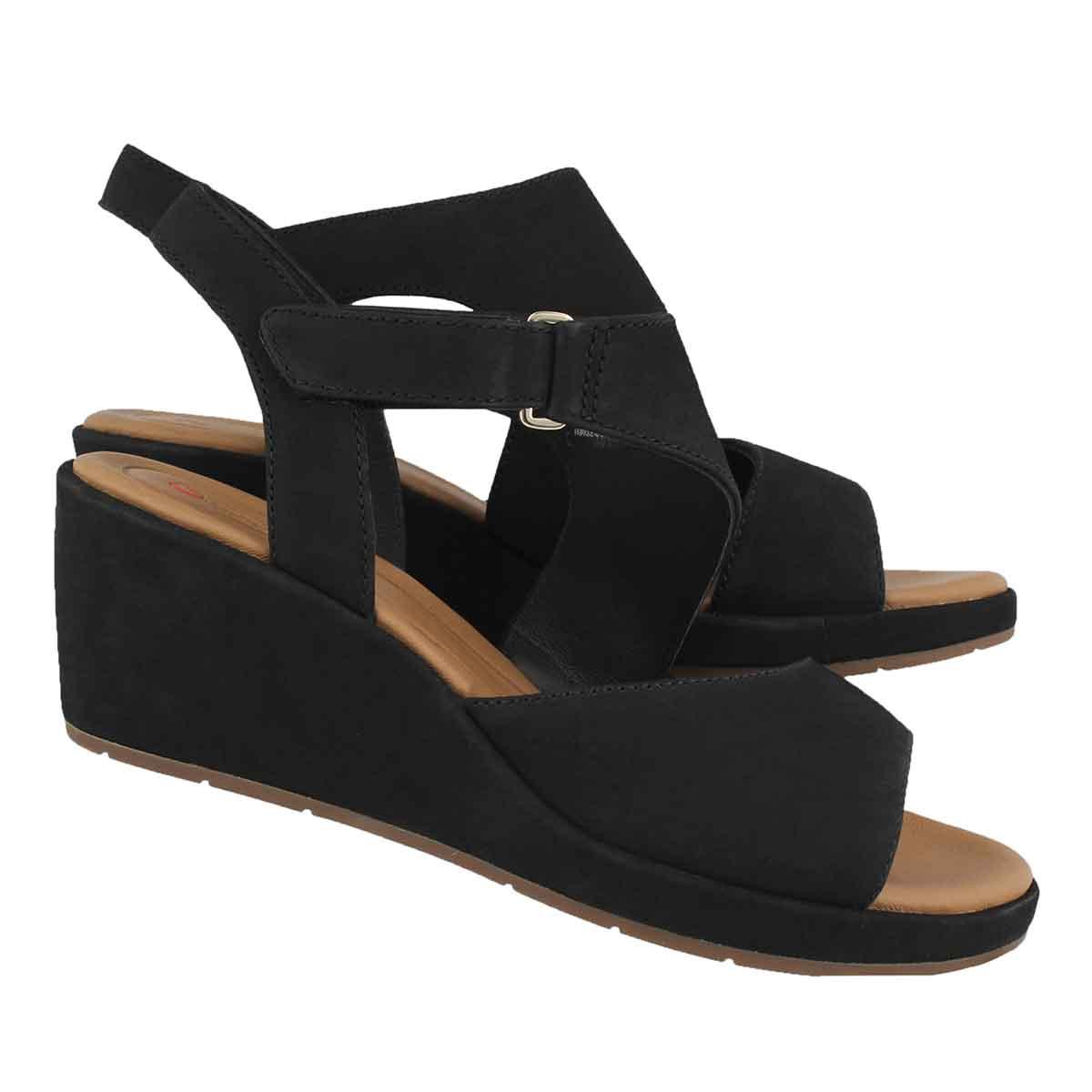 Lds Un Plaza Sling blk wedge sandal