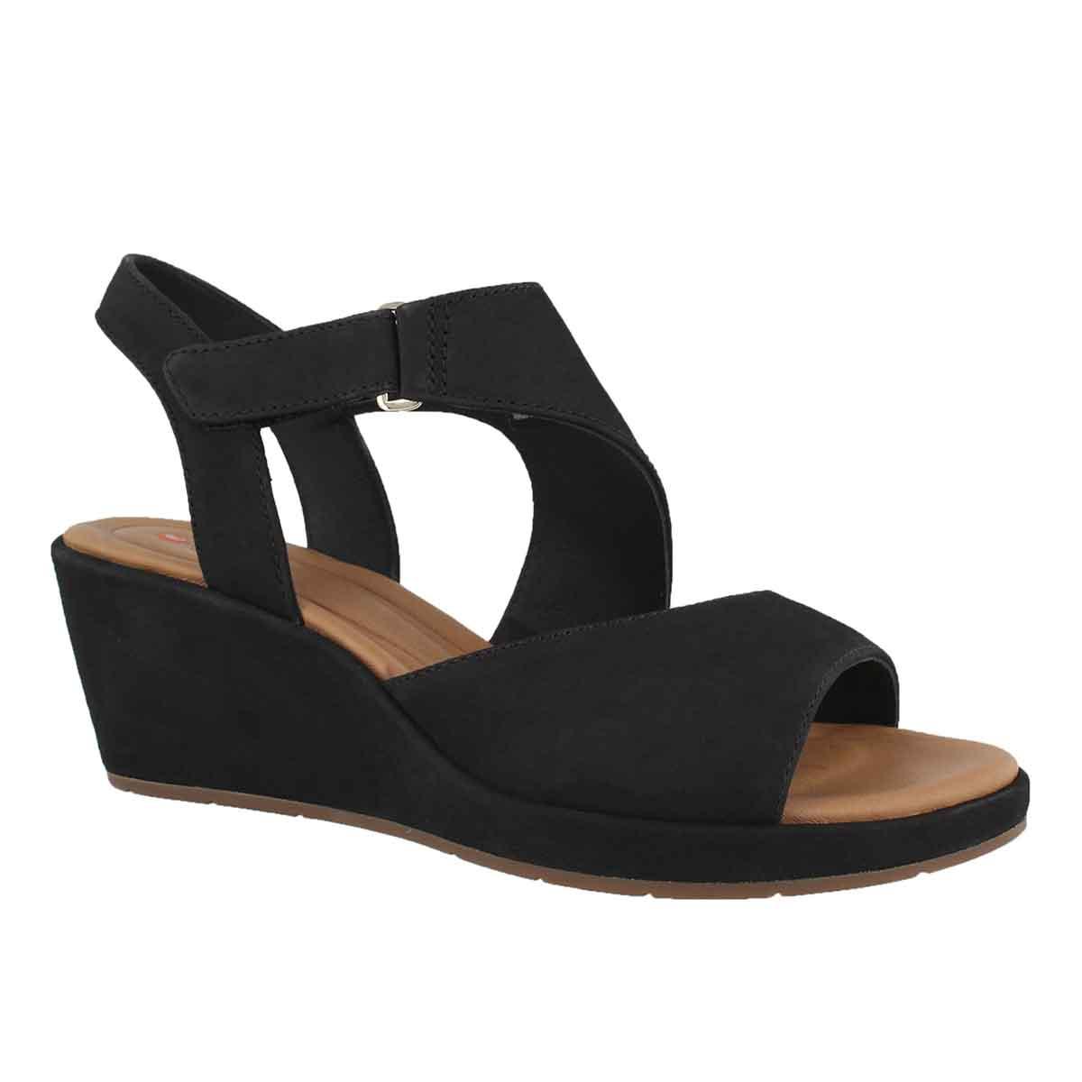 Women's UN PLAZA SLING black wedge sandal