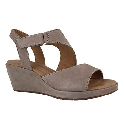 Lds Un Plaza Sling grey wedge sandal