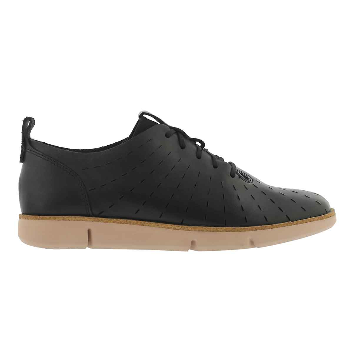 Lds Tri Etch black lace up sneaker