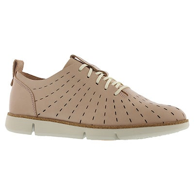 Lds Tri Etch nude pink lace up sneaker