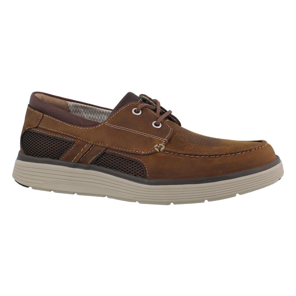 Men's UN ABODE STEP dark tan boat shoes