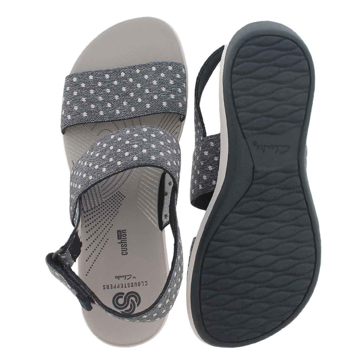 Lds Arla Jacory nvy/wht dot wedge sandal