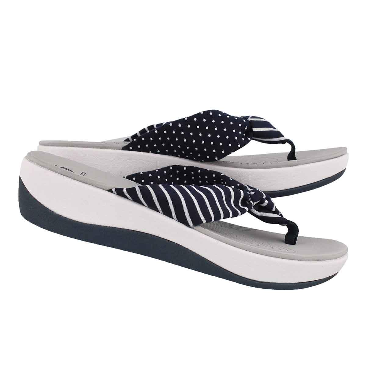 Lds Arla Glison nvy prnt wedge sandal