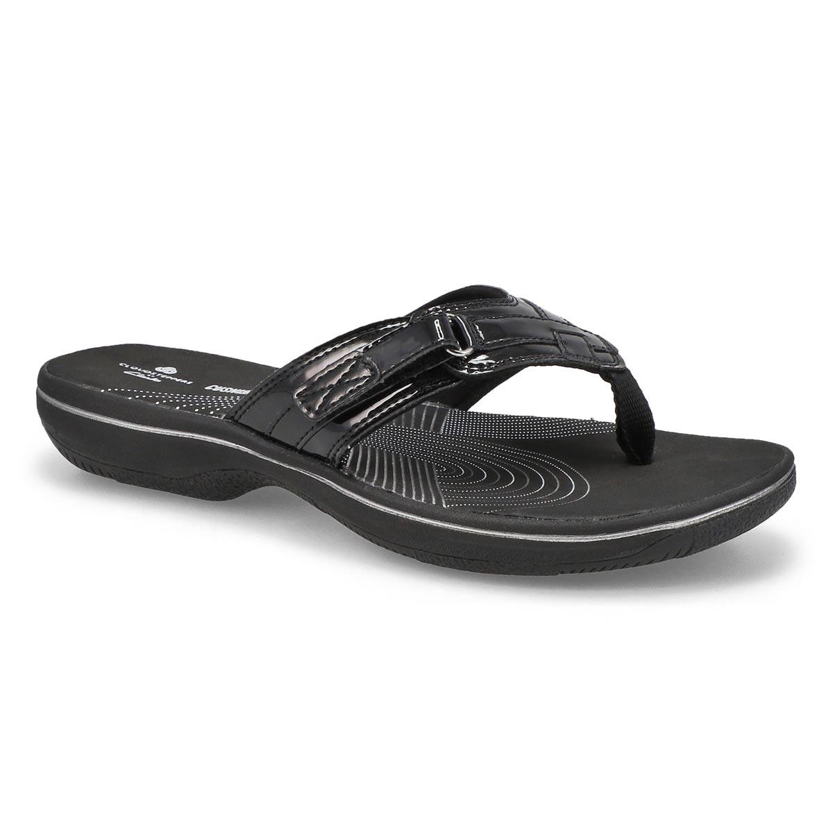 Women's BREEZE SEA black patent thong sandals
