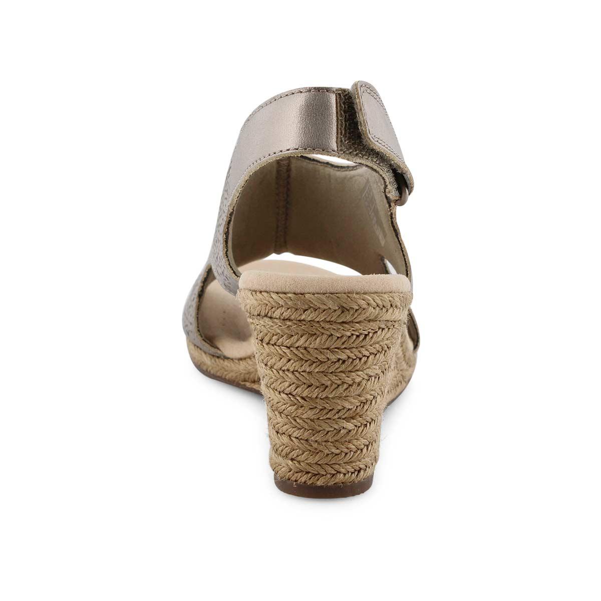 Lds Lafley Rosen pewter wedge sandal