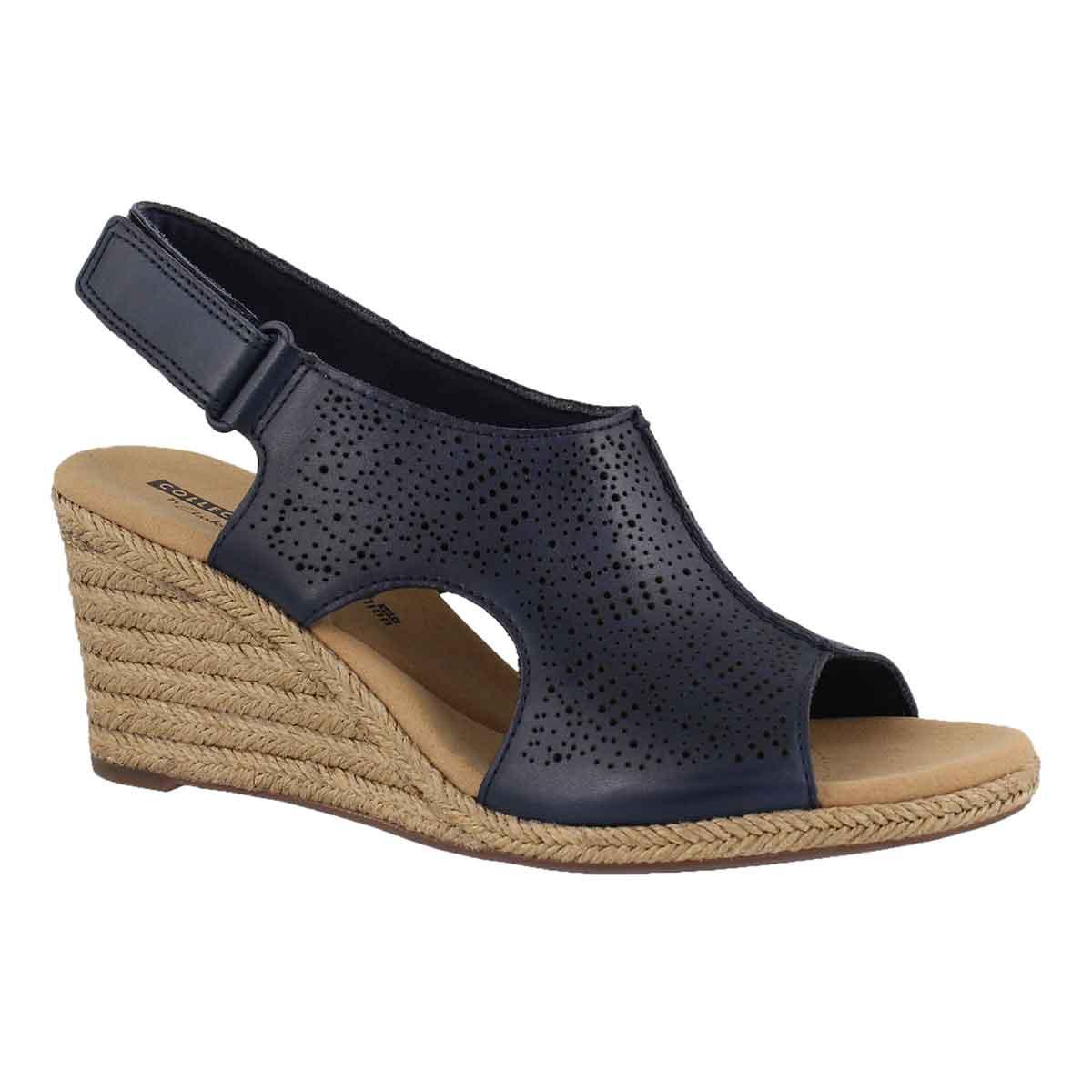 Lds Lafley Rosen navy wedge sandal