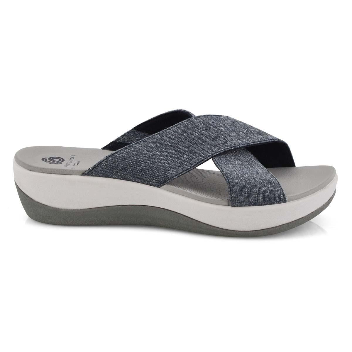 Lds Arla Elin navy wedge slide sandal