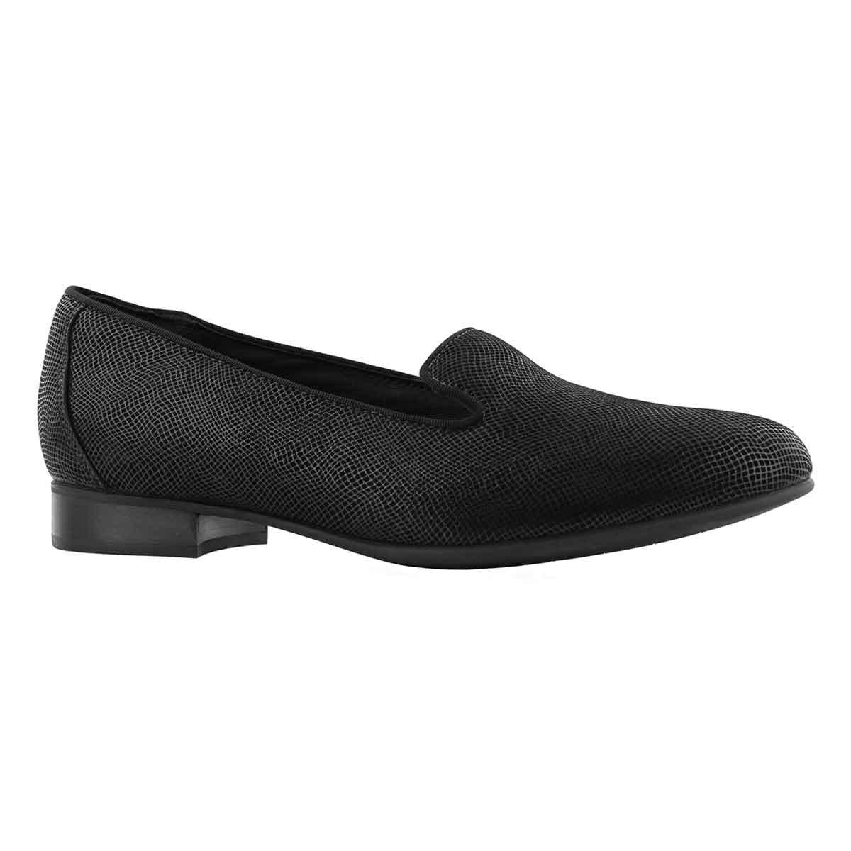 Lds Un Blush Step black dress loafer