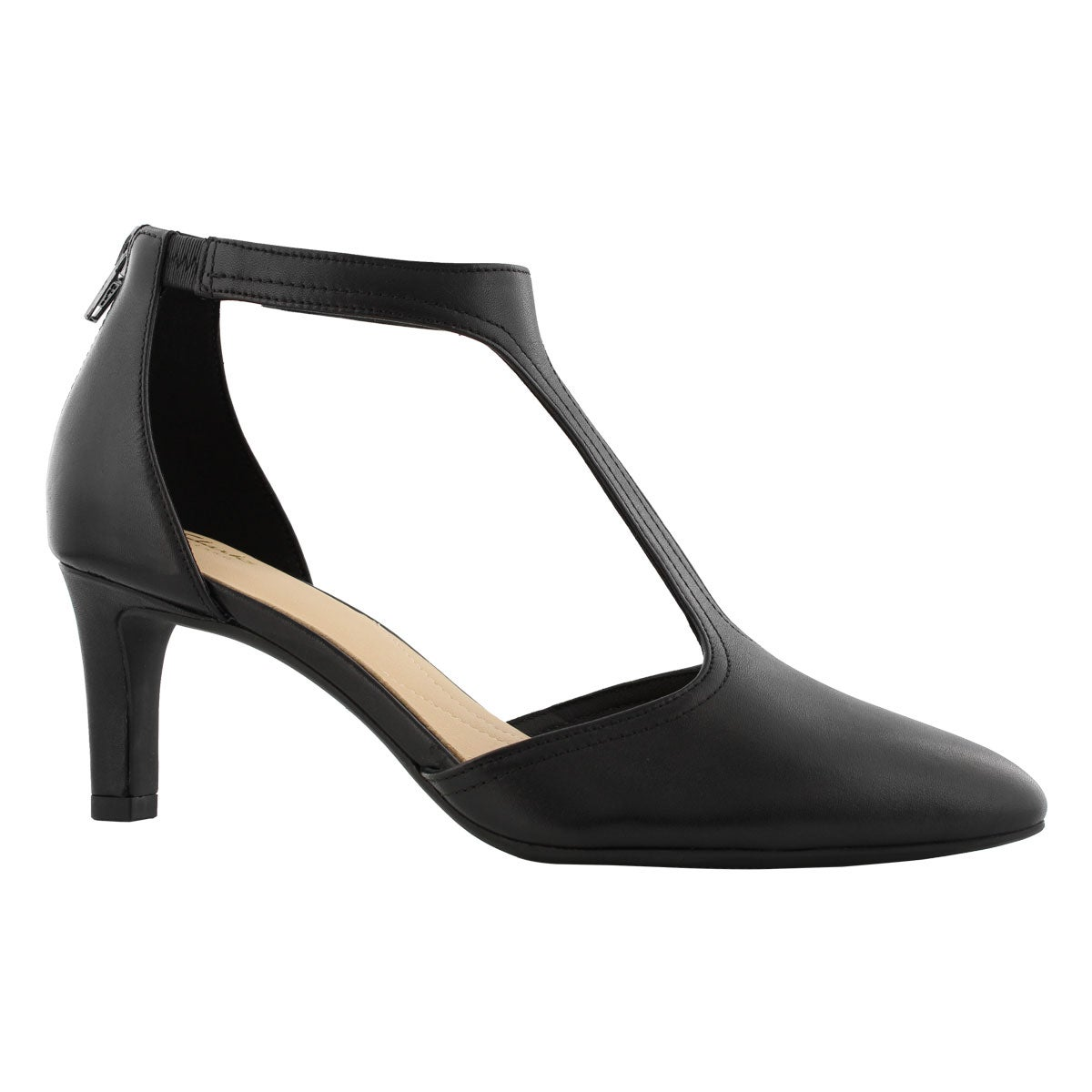 Lds Calla Lily black t-strap heel