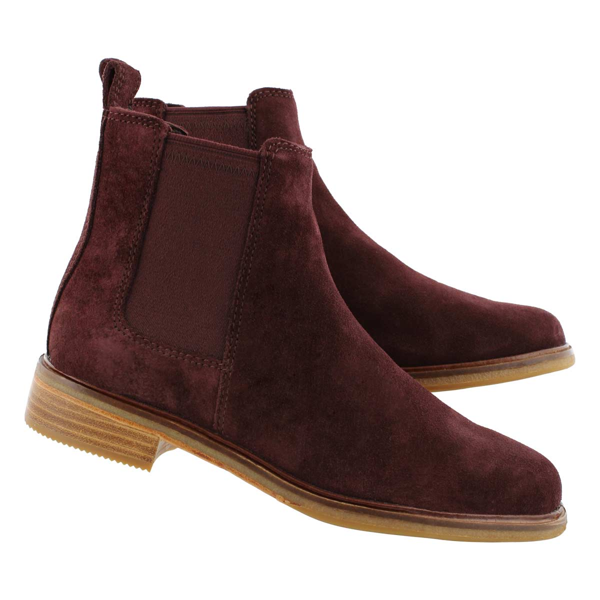 Lds Clarkdale Arlo burgundy chelsea boot