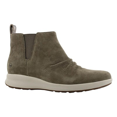 Lds Un Adorn Mid taupe nubuck ankle boot