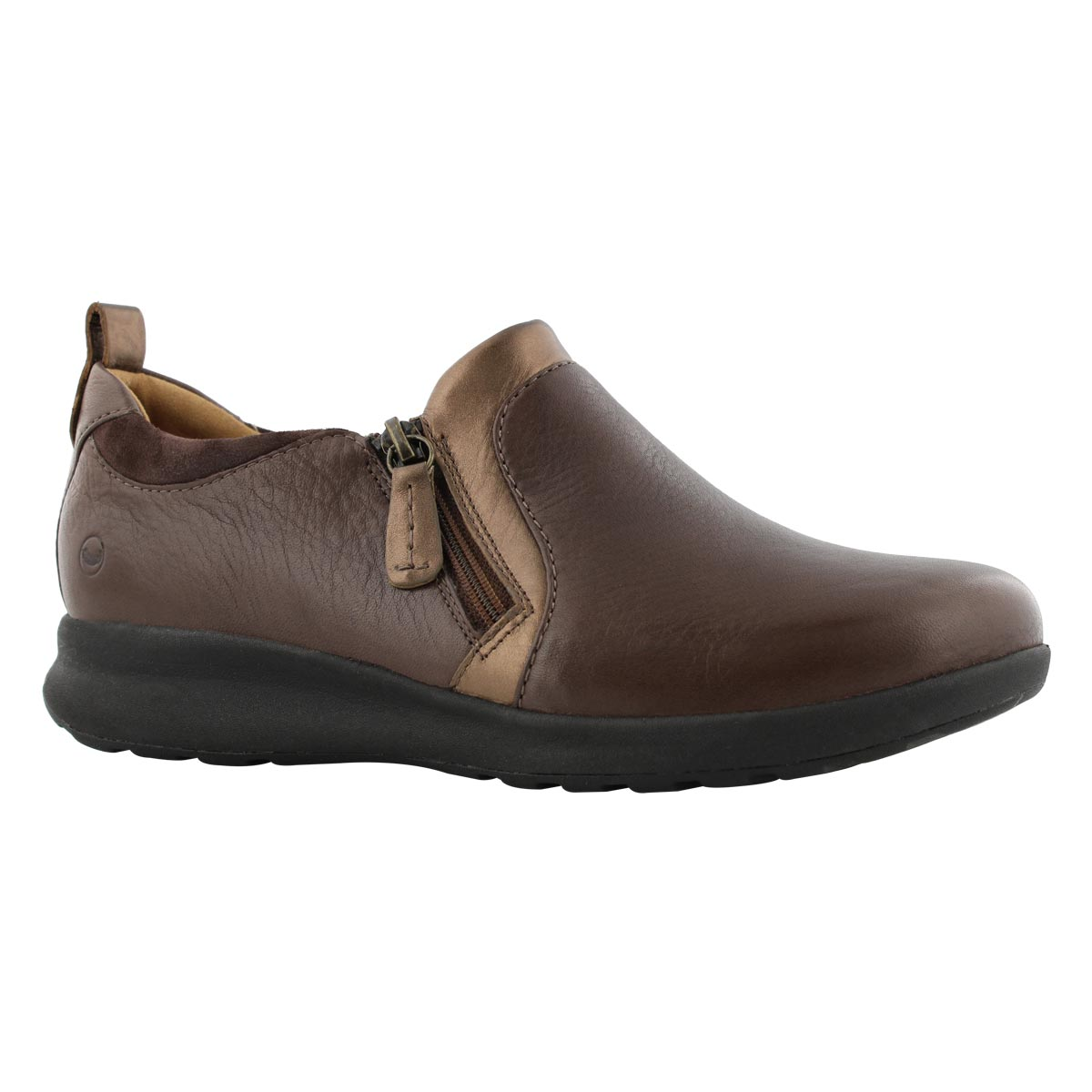 Lds Un Adorn Zip dark brown casual shoe
