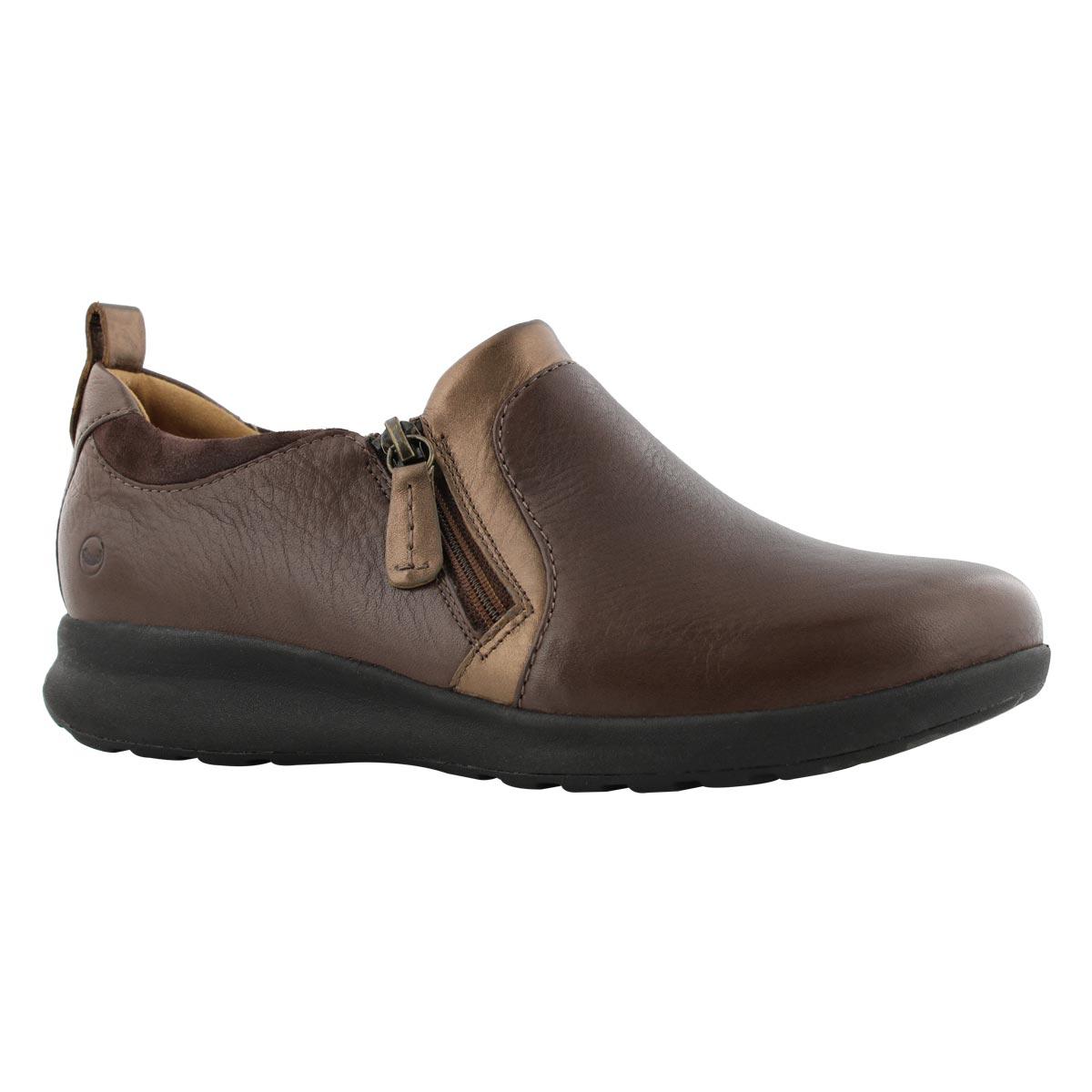 Lds Un Adorn Zip dark brown casual shoe