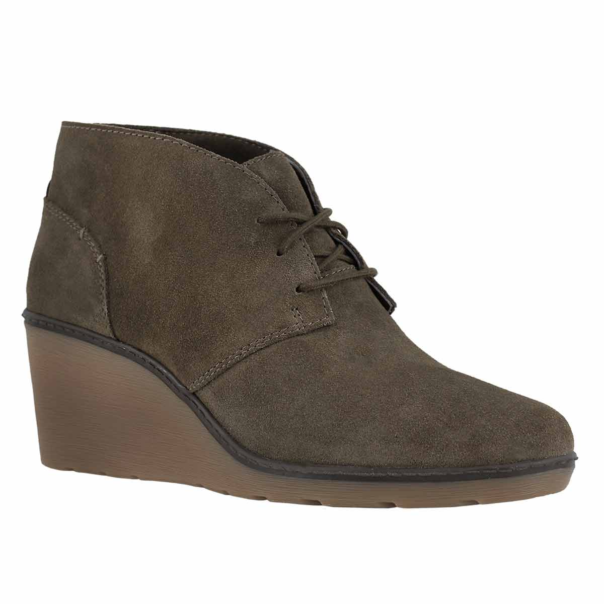 Lds Hazen Charm olive lace up wedge boot