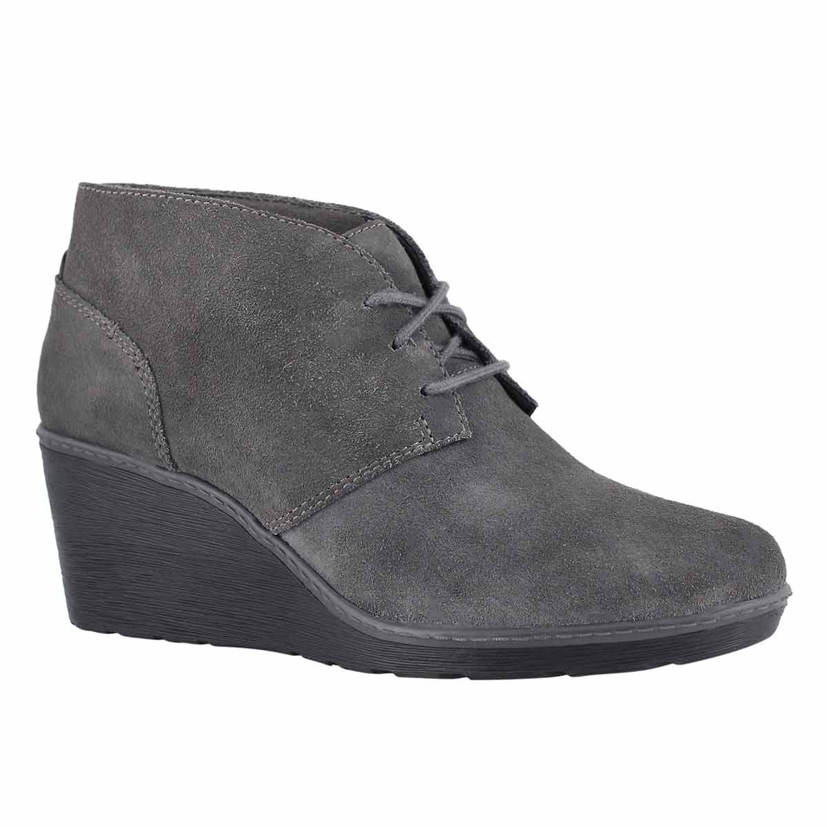 Lds Hazen Charm grey lace up wedge boot