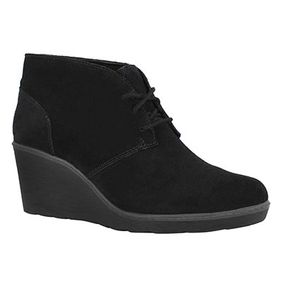 Lds Hazen Charm black lace up wedge boot