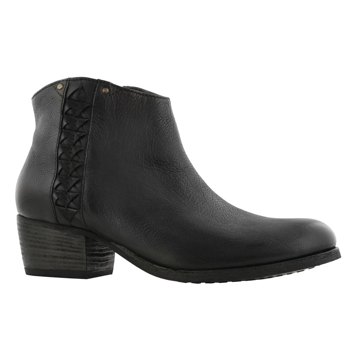 Lds Maypearl Fawn blk slip on ankle boot
