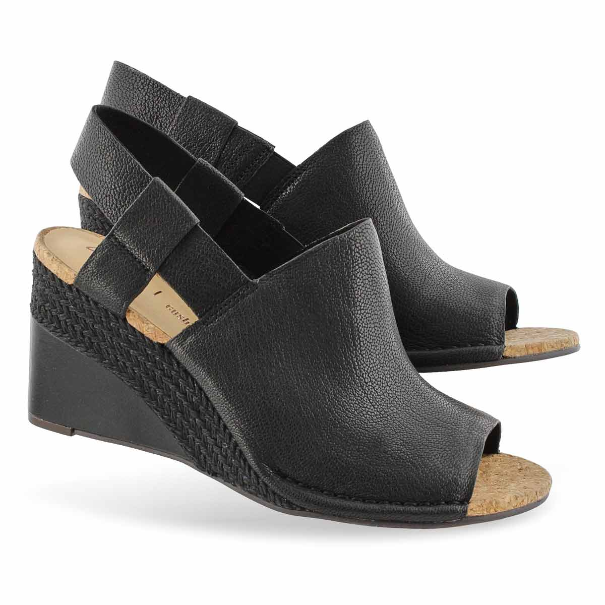 Lds Spiced Bay black dress wedge sandal