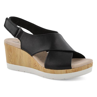 Lds Cammy Pearl black wedge sandal