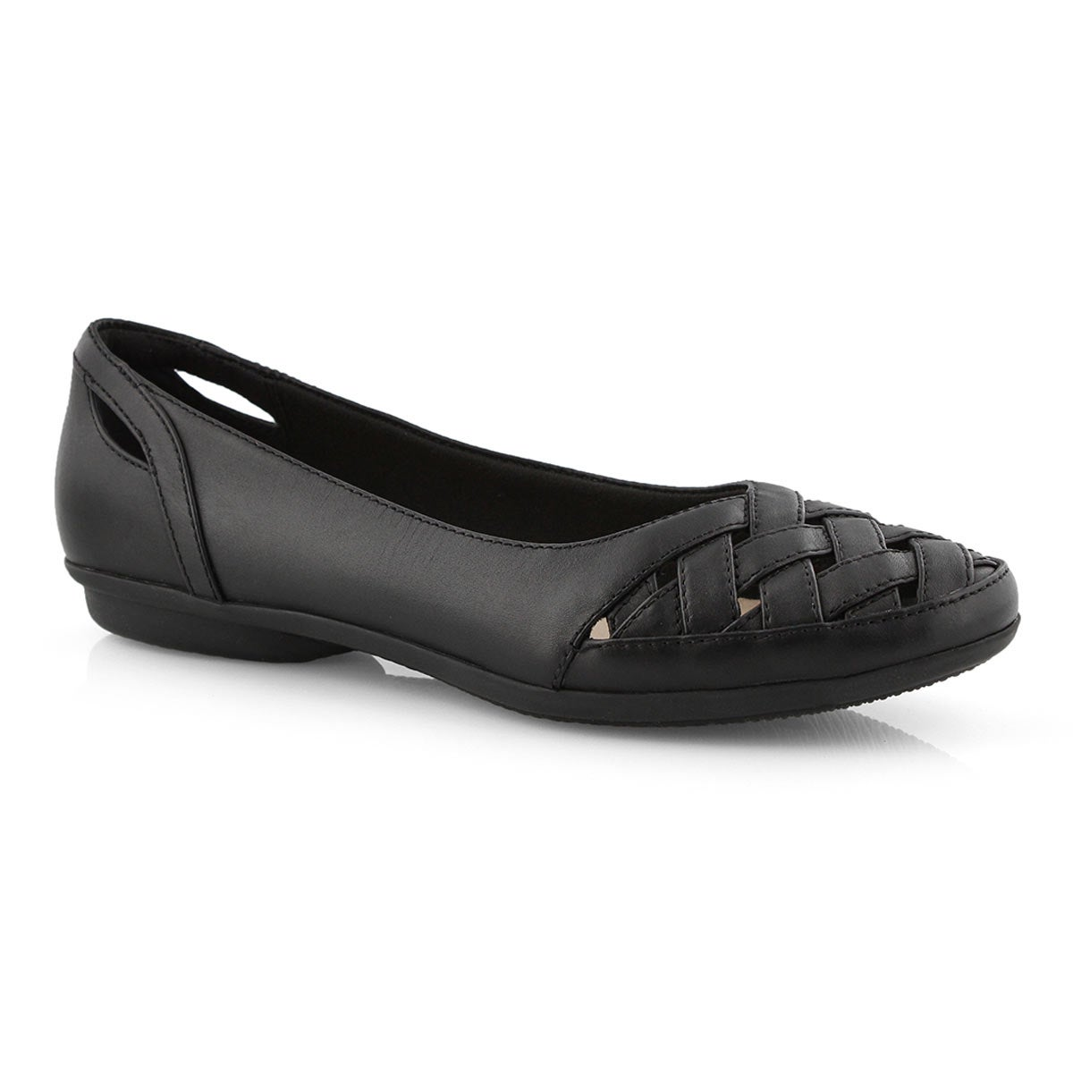 Lds Gracelin Maze black leather flat